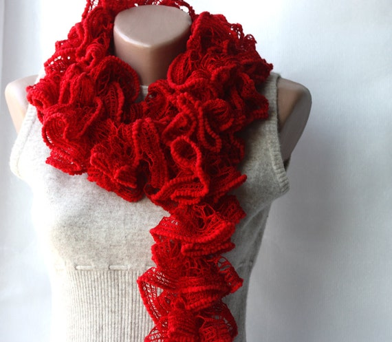 Red knit scarf  Scarlet dark Lipstick red Winter accessories