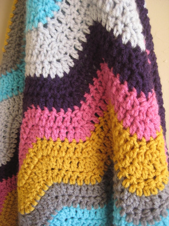 Missoni Inspired Crochet Ripple Blanket