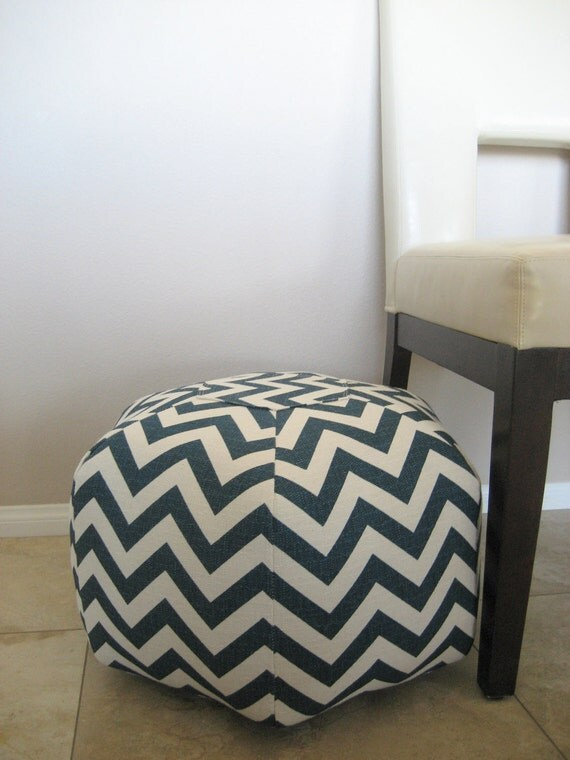 "Navy Ivory Zig Zag Chevron 18"" Ottoman Pouf Floor Pillow"