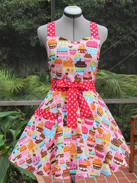 Sweetheart Hostess Apron-Pink Cupcakes-Vintage Inspired -Full of Twirl Flounce- Ready to ship