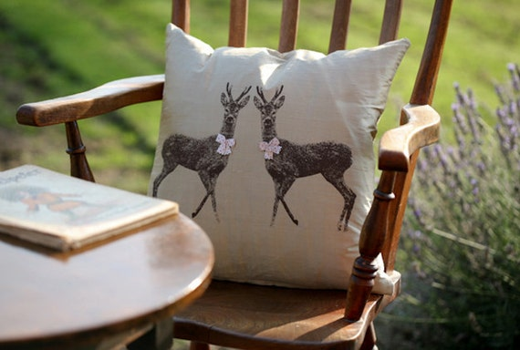 Twin Deer Silk Cushion hand screen printed in Scotland. Includes feather inner
