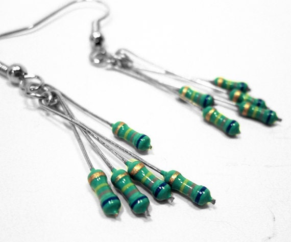Resistor Earrings Teal