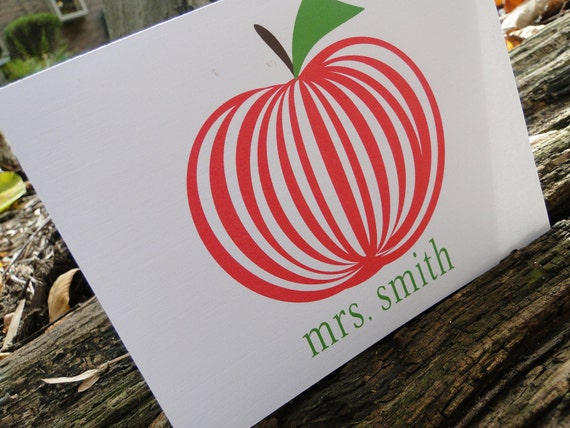 Custom Striped Red Apple Teacher Note cards (set of 10)