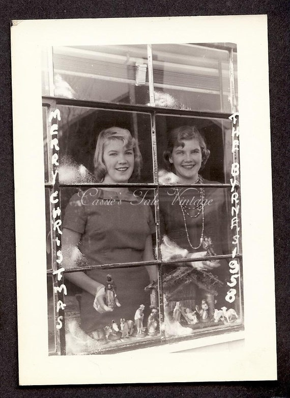 Vintage Christmas Card (unused) - Byrnes Sisters (Maybe Twins) Wish You Merry Christmas From Behind a Picture Window - Photo Postcard, 1950s