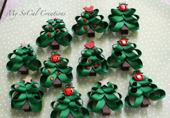 holiday christmas tree hair clip