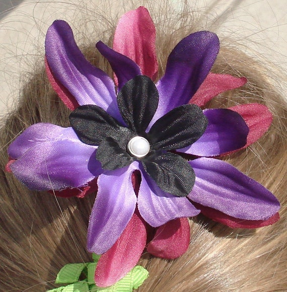 Purple and Black flower hair clip with FREE SHIPPING