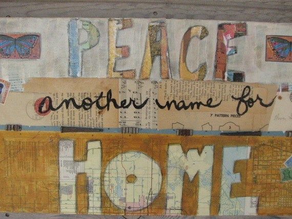 Home  Original Inspirational mixed media on canvas Maps, word art, vintage ephemera