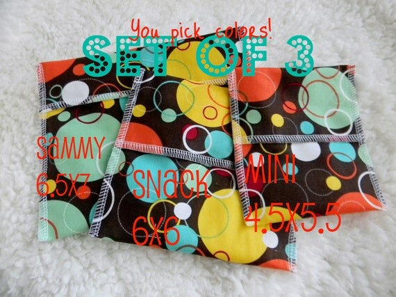 3 bags - Reusable Ecofriendly Sandwich Bag Snack Bag and Mini Bag - You Pick the fabric - 18 choices