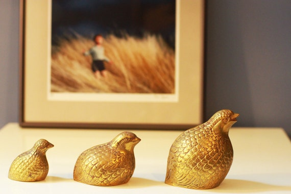 Vintage Brass Partridge Quail Figurines - Paper Weights