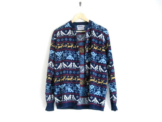 vintage knit cardigan / navy blue knit sweater / fair isle deer design