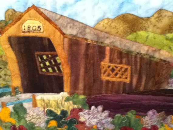 art quilt : bartonsville covered bridge Vermont