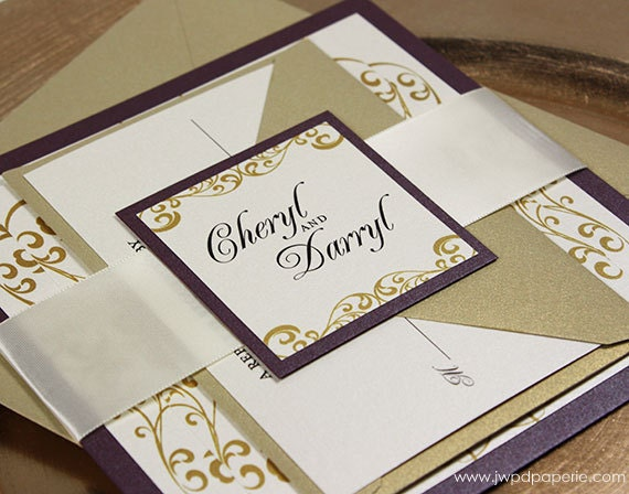 Wedding Invitation Gold Purple Wedding Invitation Wellington Wedding