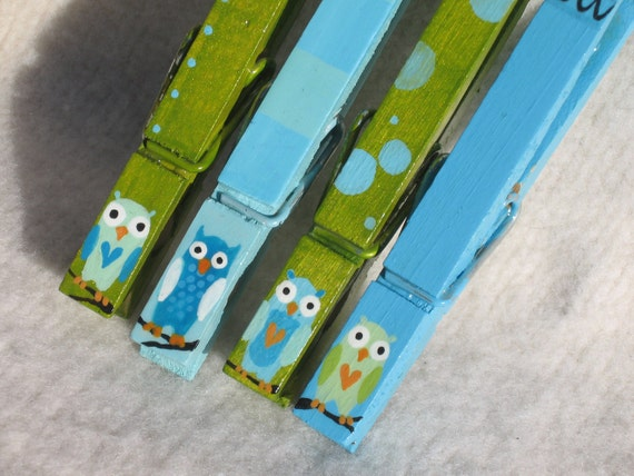 OWL CLOTHESPINS (turquoise and green) hand painted magnetic clothespins