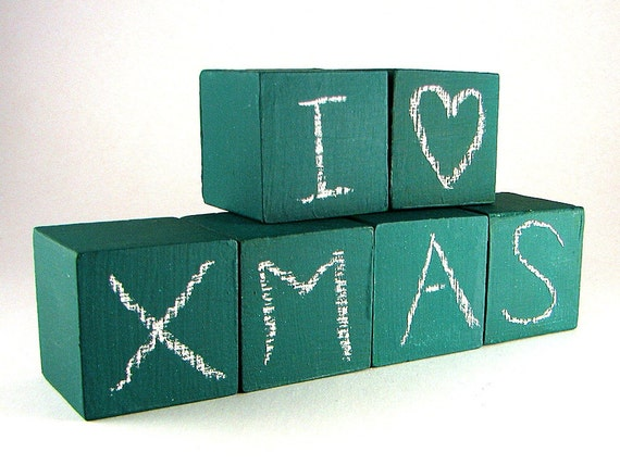 Green Chalkboard Blocks Set of 6