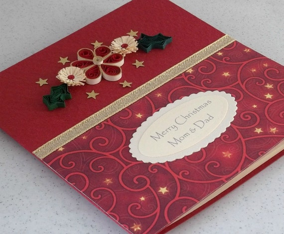 Handmade Christmas card, quilled, paper quilling, mom & dad