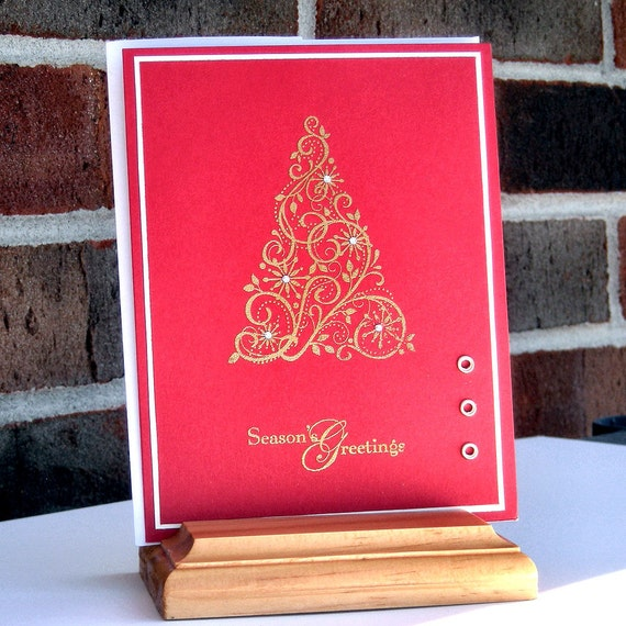 Red and Gold Christmas Tree - Christmas Holidays Embossed Handmade card
