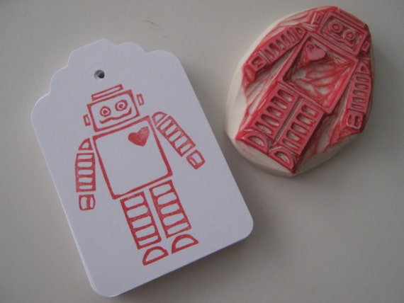 "Hand Stamped Unique Robot Tags for Gift, Favors or Notes - Set of 12 - 2-1/2"" x 1-3/4"""
