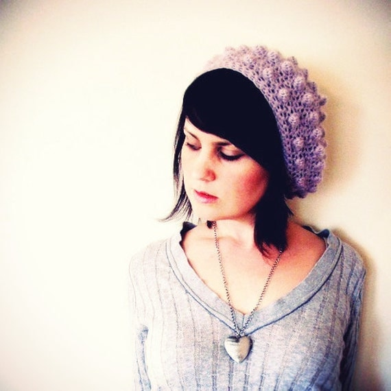 Lux Bubble Beret in Lavender Purple - Slouchy Beret Hat - Baby Alpaca - Softspoken