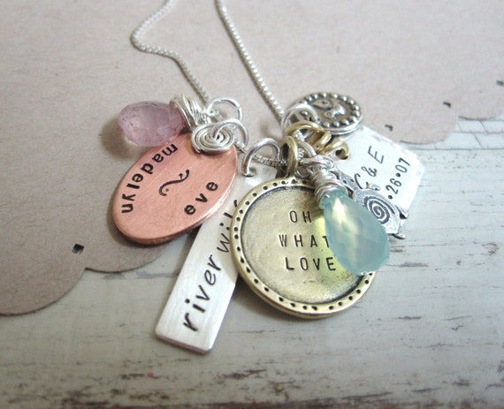 Personalized Hand Stamped Family  Mothers Necklace... Family Tree... Oh What Love