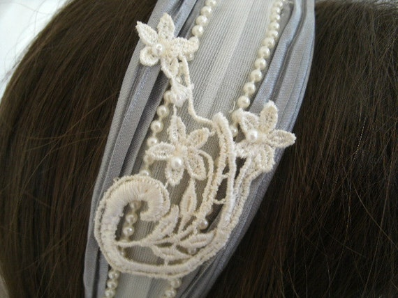 lace and pearl headband