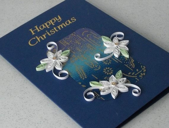 Handmade Christmas card, quilled, paper quilling