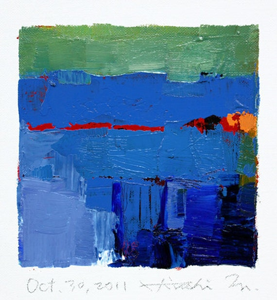Oct. 30, 2011 - Original Abstract Oil Painting - 9x9 painting (app. 9 cm x 9 cm) with 8 x 10 inch mat