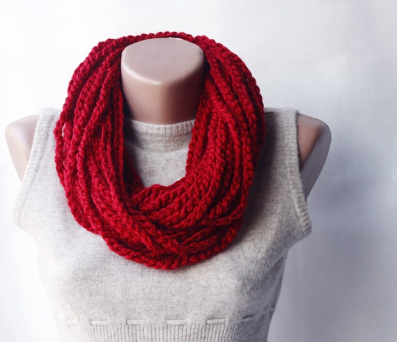 Red crochet scarf - infinity chunky wool blend - christmas winter accessories holiday