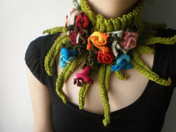 Elan ... Knitted Neckwarmer / Scarflette - Chartreuse Green - Colorful Flowers