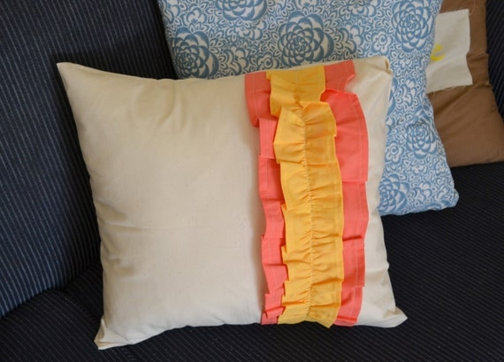 Mellow Yellow Ruffled Love Pillow Cover