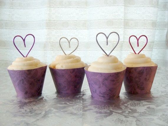 Set of 18 Wire HEART Cupcake Toppers, perfect for a Wedding or Anniversery, bridal shower, bride, bridesmaid, cake topper