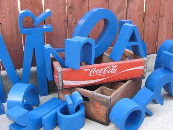Upcycled Letter M Blue Industrial Aluminum Sign Channel Letter - Uppercase M
