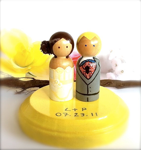 Superhero Wedding Cake Toppers Bride and Groom Hero Custom Batman Superman