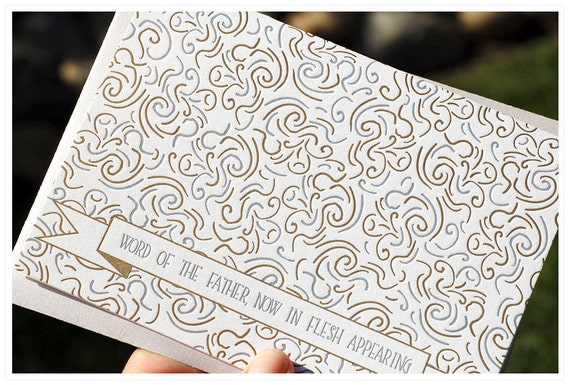 Silver and Gold Letterpress Christmas cards, swirl, set of eight