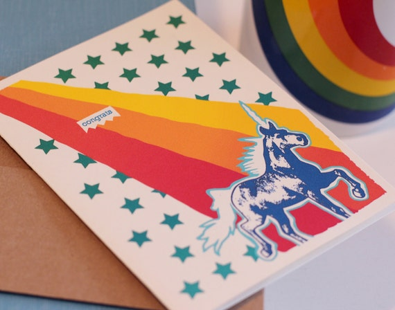 Congratulations Greeting Card. RAINBOW EXPLOSION Unicorn, Rainbow, Stars. Great for Kids or Adults.