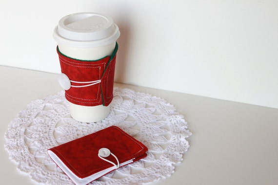 Coffee Cozy and Tea Wallet Gift Set.  Christmas Red and White.  Gift Card Holder. Business Card Holder. Stocking Stuffer. For Her. For Him.