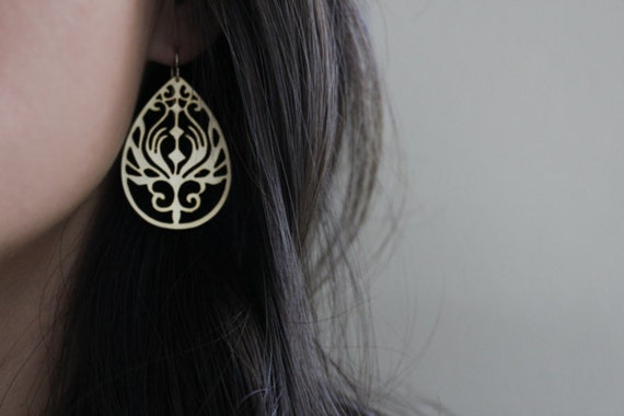 Peacock Teardrop Earrings - Paisley Peacock - Gold