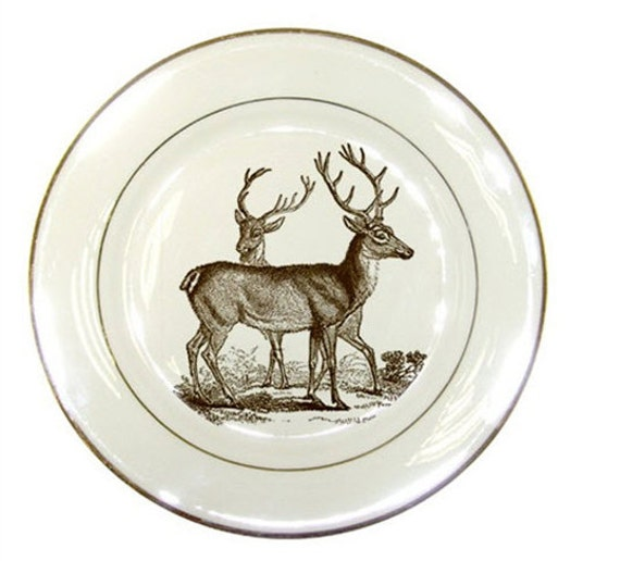 House Decor, Vintage, Deer, Autumn Entertaining, Thanksgiving, Decorative, Woodland, Porcelain Plate