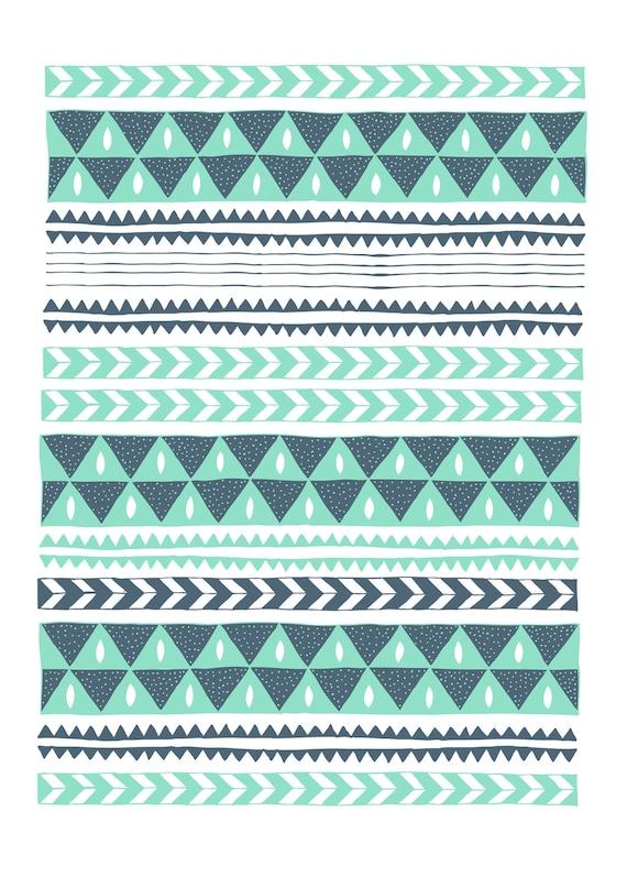 Winter Stripe Chevron and Triangle Illustration 8x11 Print