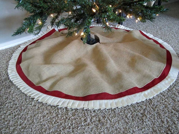 "Christmas Tree Skirt in Burlap with Red Accent and hand pressed pleats - 48"" - Ships in 2012"