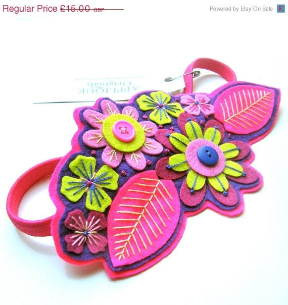 NOVEMBER SALE FLORA hairband / headband/ fascinator - felt with hand embroidery