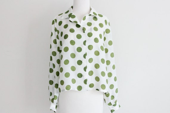 Olive green polka dot blouse // vintage 60s womens shirt