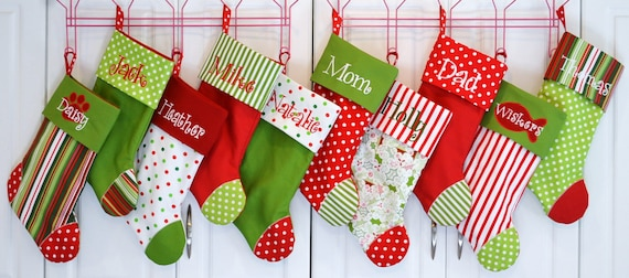 Christmas Stocking CHOOSE your color combo and Personalization