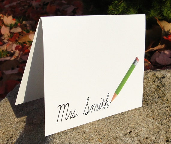 Custom pencil teacher note cards (set of 10)