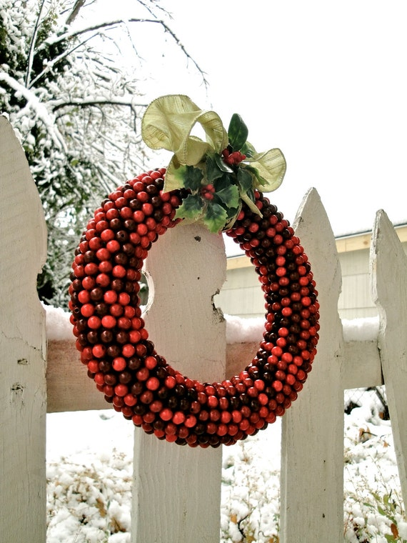 Holiday decoration ideas handmade christmas wreaths for Artificial cranberries decoration