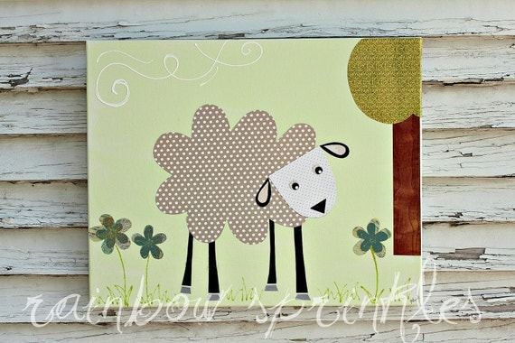 Children's Wall Art Print- lamb, sheep, Kids Art, Nursery Art