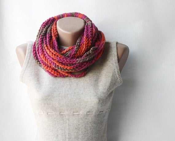 Crochet infinity scarf - Multicolor chain necklace chunky brown fuchsia pink tangerine blood orange coral Winter accessories