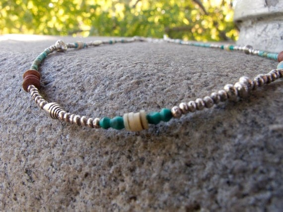 Fine Silver and Natural Stone Bead Necklace