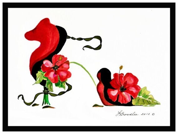 Shoe Print - Paso Doble Ballroom Dancing Flower Shoe - Signed and Enhanced with Watercolor