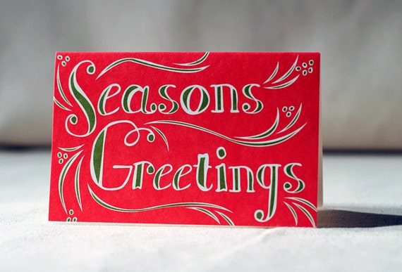 Greeted Offset holiday cards - Seasons Greetings. Offset printed on 100% PCW paper. Set of 8 cards. 5147
