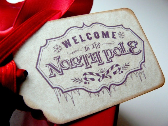 Vintage Christmas Gift Tags - North Pole - Red Winter Holiday Favors